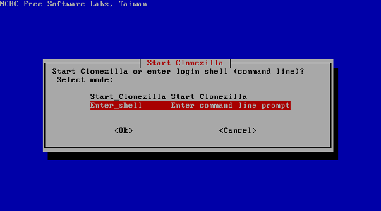 Start Clonezilla options