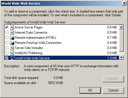 World Wide Web Service options