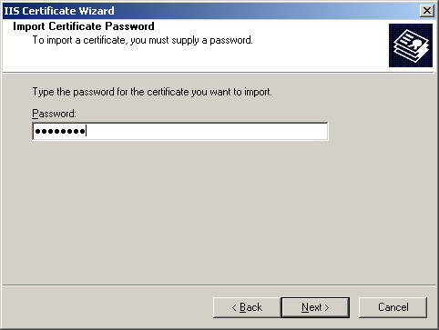 Import Certificate Password