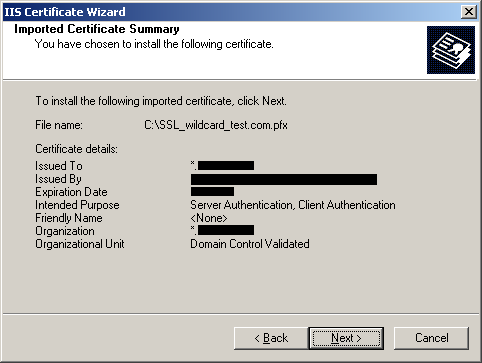Imported Certificate Summary