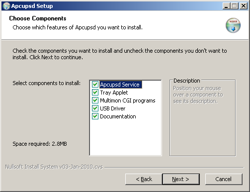 Apcupsd installation options