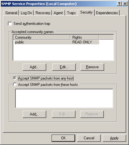 Accept SNMP packets
